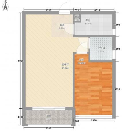 宝安椰林湾1室1厅1卫1厨48.00㎡户型图