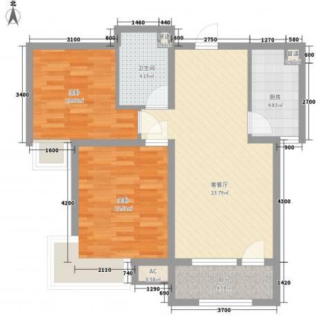 气象局宿舍2室1厅1卫1厨87.00㎡户型图