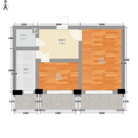 民航宿舍2室1厅1卫1厨54.00㎡户型图
