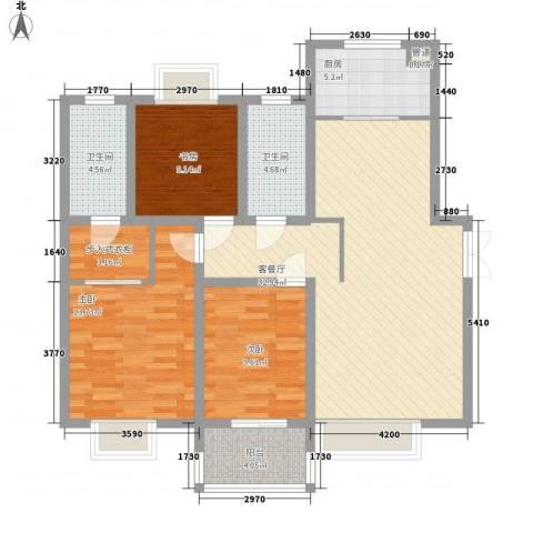 东方明珠花园3室1厅2卫1厨125.00㎡户型图