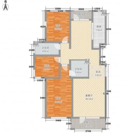 水岸花都3室1厅2卫1厨161.00㎡户型图