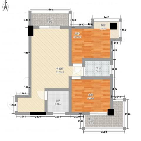 标志・浪漫满屋2室1厅1卫1厨89.00㎡户型图