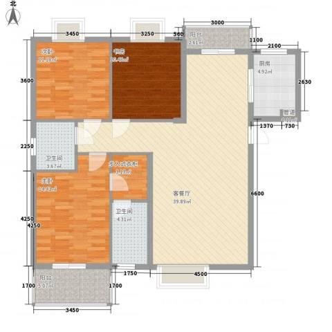 标志・浪漫满屋3室1厅2卫1厨140.00㎡户型图