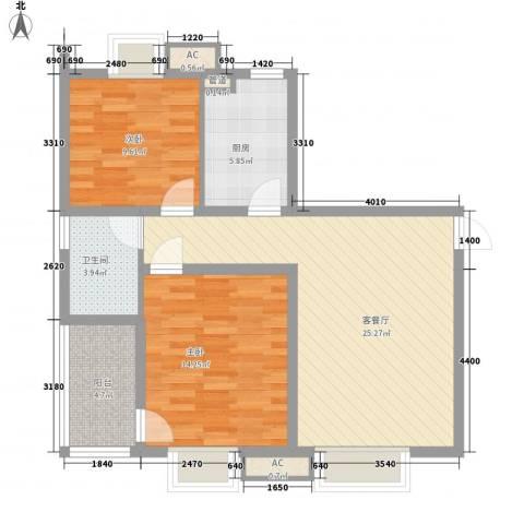 标志・浪漫满屋2室1厅1卫1厨94.00㎡户型图