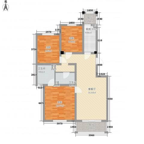 上奥世纪中心3室1厅2卫1厨122.00㎡户型图