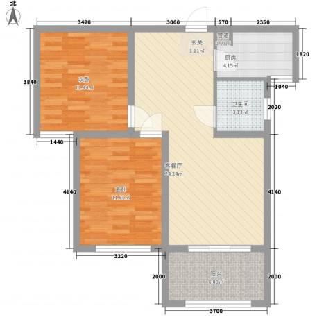 明发・淄博世贸中心2室1厅1卫1厨88.00㎡户型图