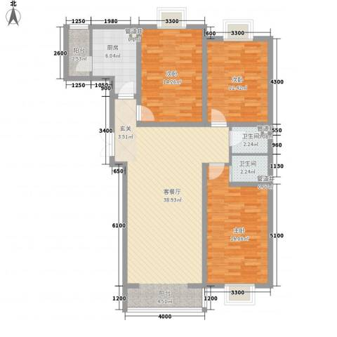 黄金海岸3室1厅2卫1厨135.00㎡户型图