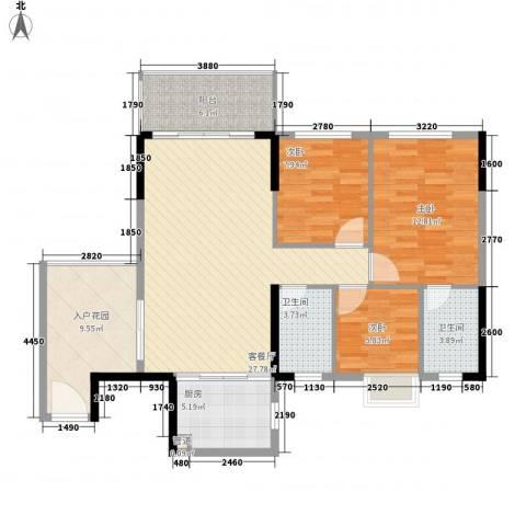 忠信春满园3室1厅2卫1厨82.91㎡户型图