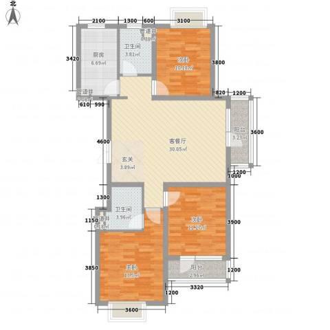 黄金海岸3室1厅2卫1厨124.00㎡户型图