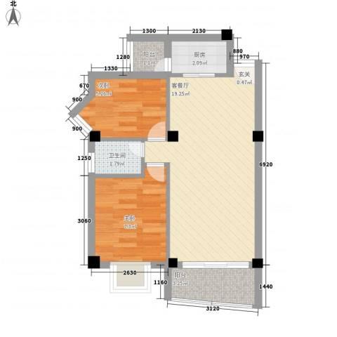集美大学湾2室1厅1卫1厨58.00㎡户型图
