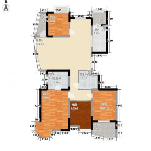 蝶庄4室1厅2卫1厨164.00㎡户型图