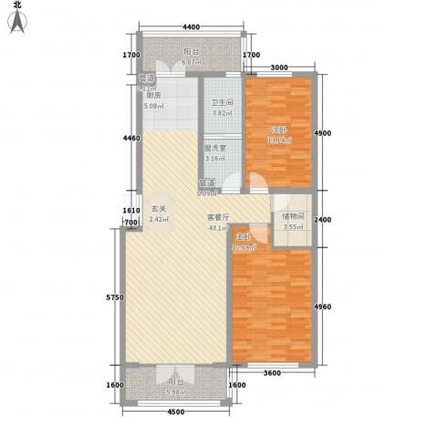 新新怡园二期2室1厅1卫0厨96.68㎡户型图