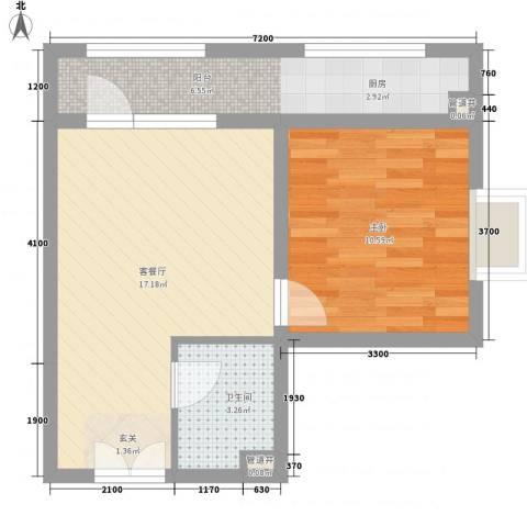 黄金海岸1室1厅1卫0厨55.00㎡户型图