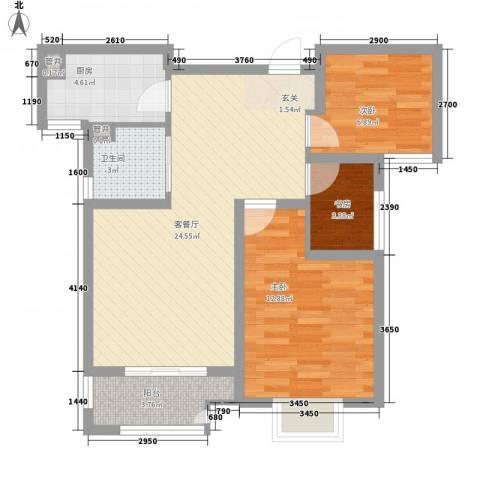 高力金色果缘3室1厅1卫1厨86.00㎡户型图