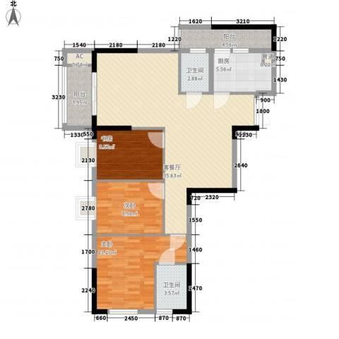 鑫泰丽都中央公馆3室1厅2卫1厨125.00㎡户型图