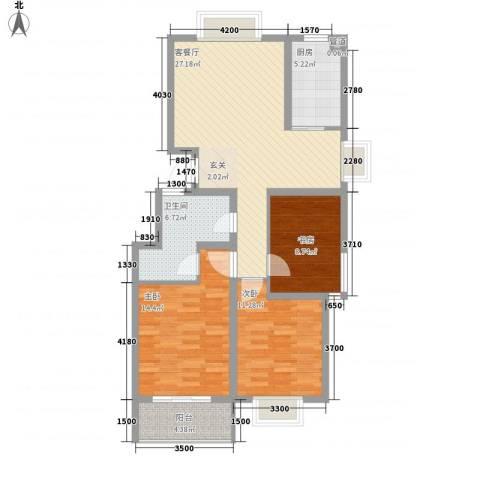 东方御景3室1厅1卫1厨117.00㎡户型图