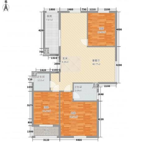 龙城四季3室1厅2卫1厨137.00㎡户型图