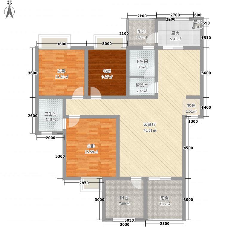 北城逸岭126.21㎡D奇数层户型3室2厅2卫1厨