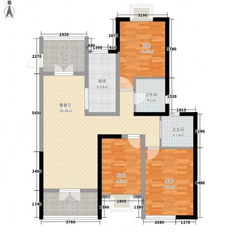 人民家园3室1厅2卫1厨129.00㎡户型图