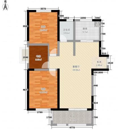 高力金色果缘3室1厅1卫1厨122.00㎡户型图