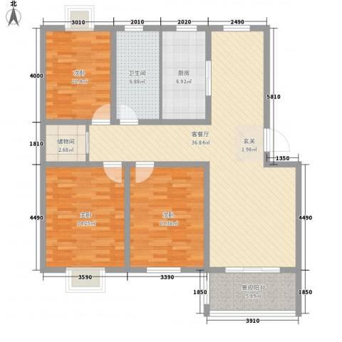 藤花园3室1厅1卫1厨128.00㎡户型图