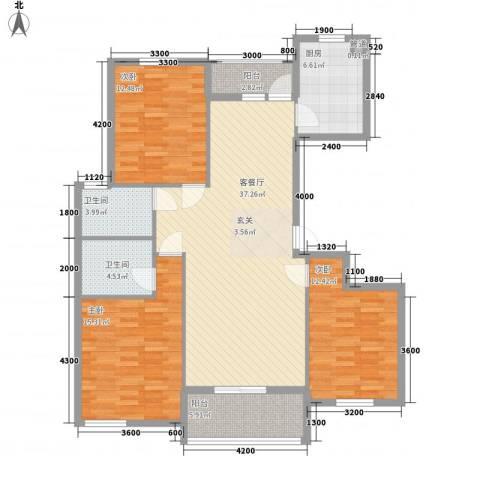 龙城四季3室1厅2卫1厨139.00㎡户型图