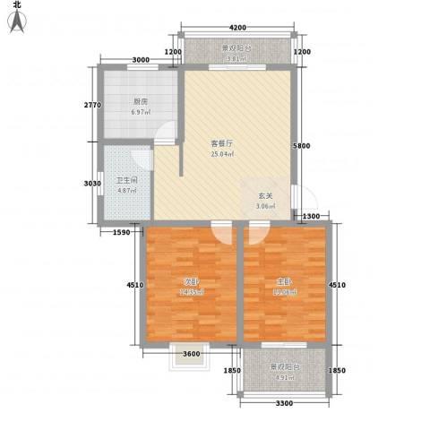 藤花园2室1厅1卫1厨73.00㎡户型图
