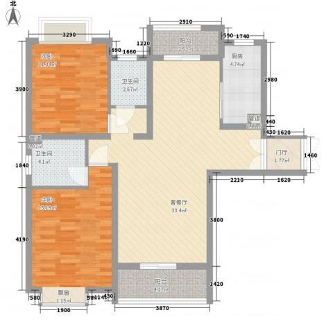 中环城紫荆公馆2室1厅2卫1厨107.00㎡户型图