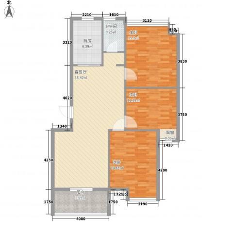 冠亚星城3室1厅1卫1厨125.00㎡户型图