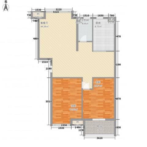 冠亚星城2室1厅1卫1厨135.00㎡户型图