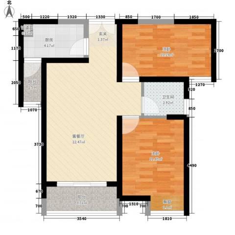 无锡海岸城2室1厅1卫1厨83.00㎡户型图