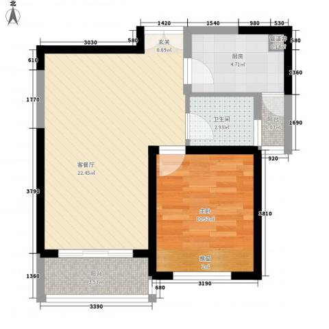 无锡海岸城1室1厅1卫1厨66.00㎡户型图