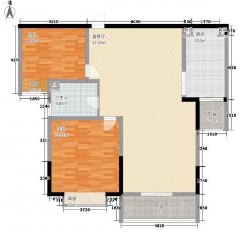 富兴嘉城一期2室1厅1卫1厨160.00㎡户型图