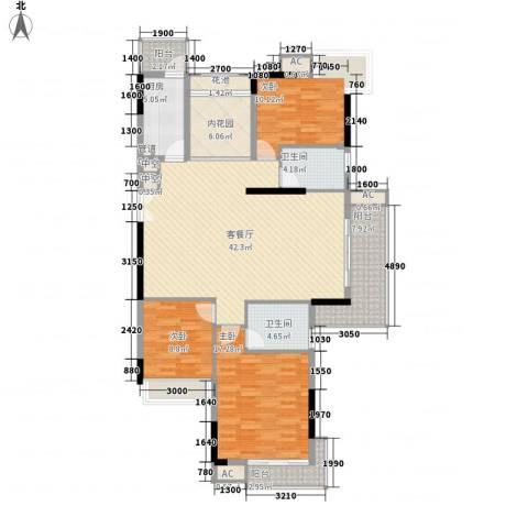 长城世家二期3室1厅2卫1厨132.00㎡户型图