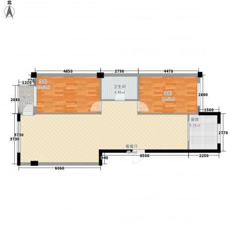 八一新居2室1厅1卫1厨105.00㎡户型图