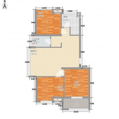 冠亚星城3室1厅1卫1厨109.00㎡户型图