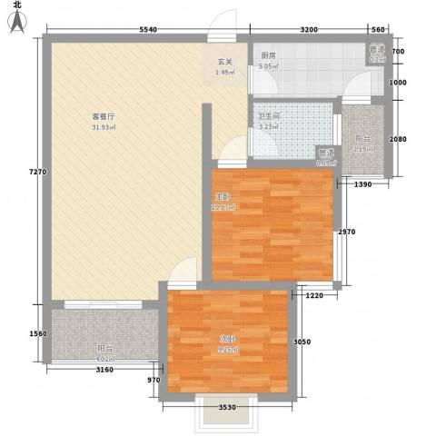 滨江首府2室1厅1卫1厨66.14㎡户型图