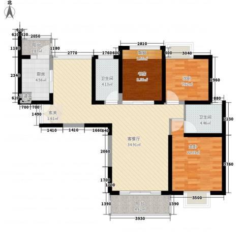无锡海岸城3室1厅2卫1厨121.00㎡户型图