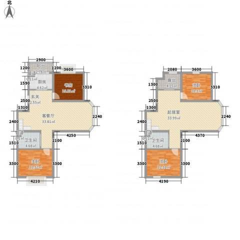 澜山溪谷4室1厅2卫1厨151.00㎡户型图