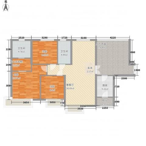 滨江首府3室1厅2卫1厨139.00㎡户型图