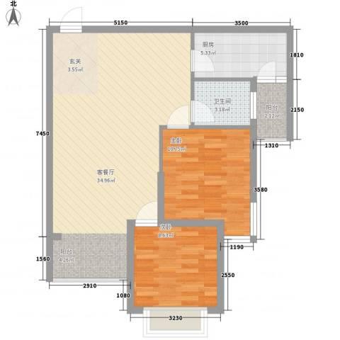 滨江首府2室1厅1卫1厨64.97㎡户型图