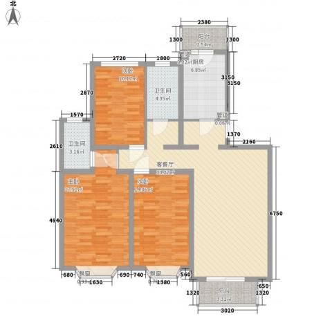 元一时代花园3室1厅2卫1厨135.00㎡户型图