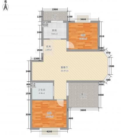澜山溪谷2室1厅1卫1厨115.00㎡户型图