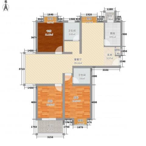 东方・海逸豪园3室1厅2卫1厨147.00㎡户型图