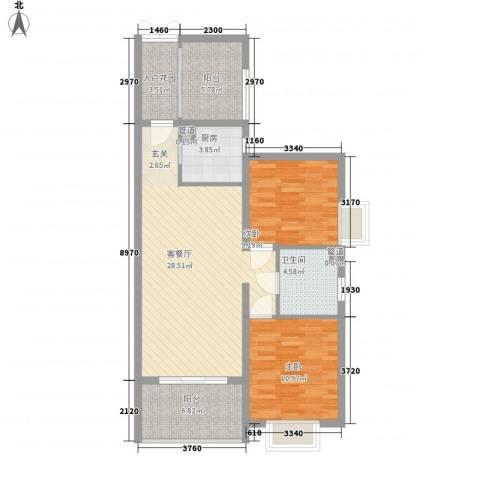 滨江首府2室1厅1卫1厨73.44㎡户型图