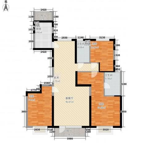 华润中心凯旋门3室1厅2卫1厨111.07㎡户型图
