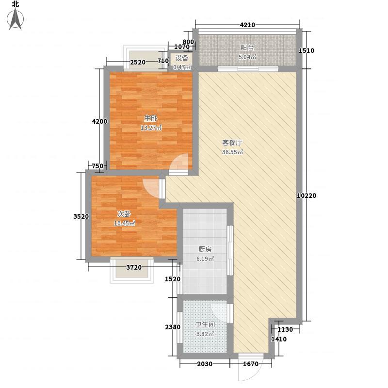 东信花园阳光尚城8.30㎡B栋标准层C户型2室2厅1卫1厨