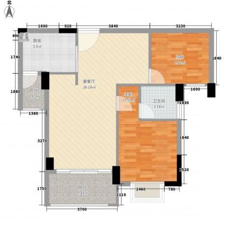 富盈山水华府2室1厅1卫1厨88.00㎡户型图