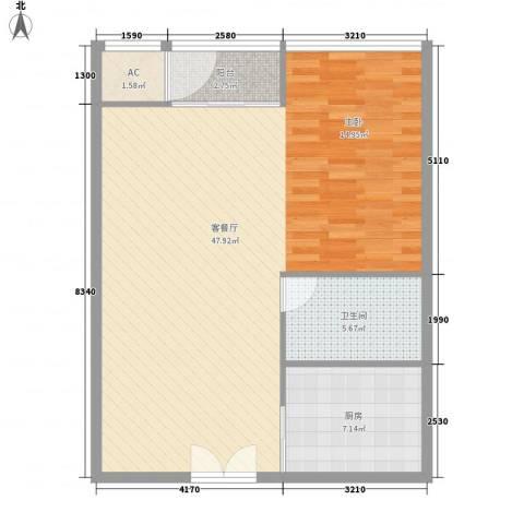 北京财富中心二期1厅1卫1厨88.00㎡户型图