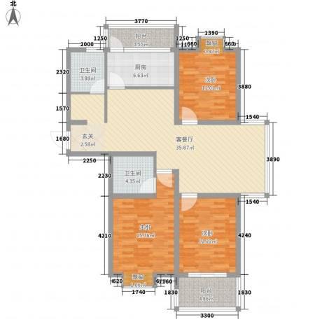 东方・海逸豪园3室1厅2卫1厨141.00㎡户型图